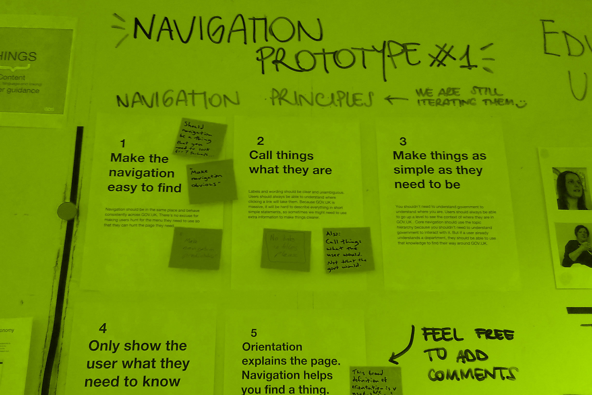 The principles for the navigation mission printed on sheets of paper and stuck on wall
